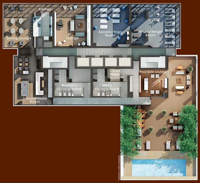 Building amenities floor plan